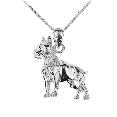 (Polished 925 Sterling Silver Boxer Dog Charm Pendant Necklace, 16