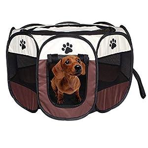 Marbeine – Parque de juego para perro, parque para cachorros pequeños animales plegable, jaula de perro/gatos, portátil…