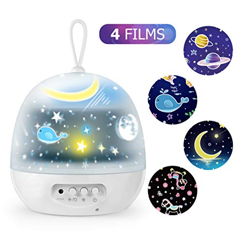 Kids Star Night Lights - 4 Set Films 360 Degree Rotating Star Projector, Bedside Lamp with USB Cable, 4 LED Bulbs, 8 Color Changing, Best for Children Baby Bedroom, Party Decorations, Christmas Gifts
