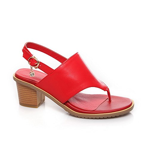 Split Leather Toe Crimson Solid AmoonyFashion Buckle Heels Kitten Cow Womens Sandals ZcTORRwpq