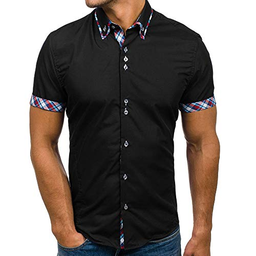 WEUIE Men Shirts Men's Summer Casual Button Double Collar Slim Patchwork Short Sleeve T-Shirt Top Blouse Black