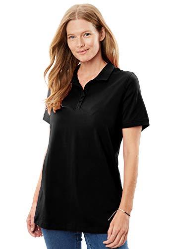 (Woman Within Women's Plus Size Perfect Polo Tee - Black, 2X)