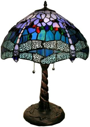 Warehouse of Tiffany WHT008 Tiffany-Style Dragonfly Lamp, Blue Red