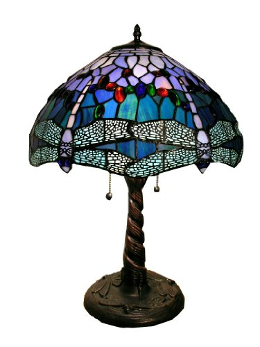 Warehouse of Tiffany WHT008 Tiffany-Style Dragonfly Lamp, Blue/Red