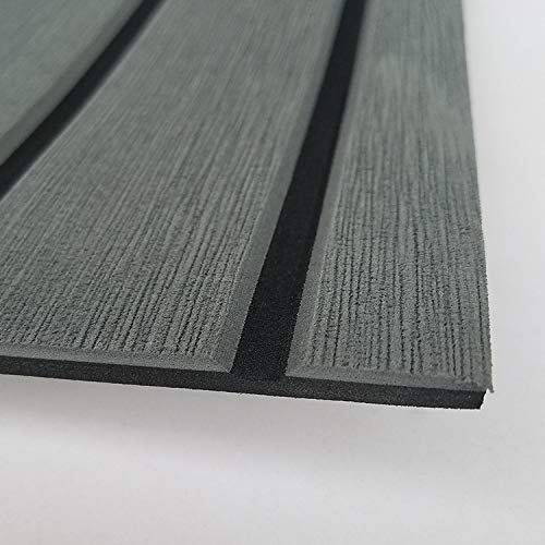 SOOMJ Marine Flooring for Boats,EVA Faux Teak Decking Sheet for Boat Yacht Non-Slip Decking Self Adhesive (Dark Gray with Black Lines)