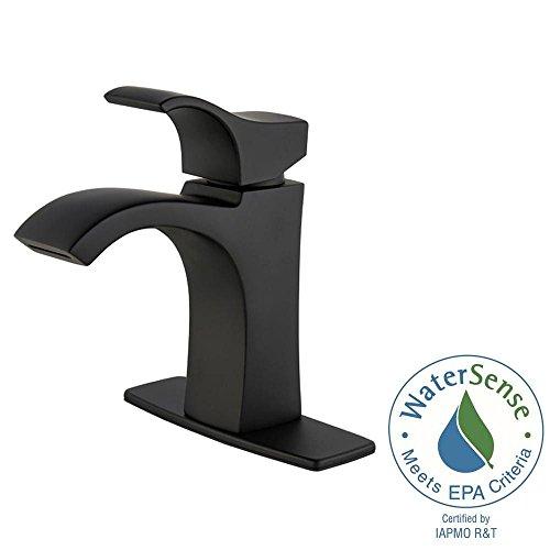Pfister Venturi 4 in. Centerset Single-Handle Bathroom Faucet in Matte Black (Handle Venturi)