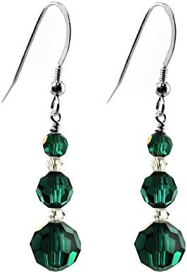 Earrings made with Faceted Round Swarovski Crystal Elements Green Color, Sterling Silver French Wire