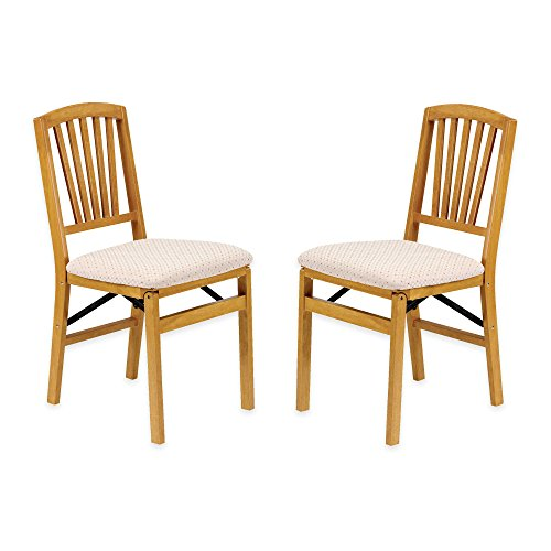 Classic Mission Style Slat Back Folding Chair Set of 2 in Oak Wood Finish