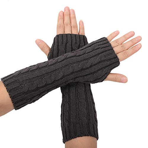 Flammi Women's Cable Knit Arm Warmers Fingerless Gloves Thumb Hole Gloves Mittens (Grey) (Mittens Gloves Fingerless)