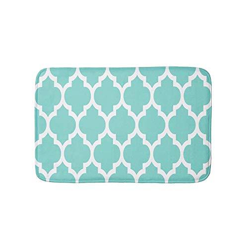Turquoise Aqua Wht Moroccan Quatrefoil Pattern 4 Doormat Bath Door Mat 16 x 24 ()