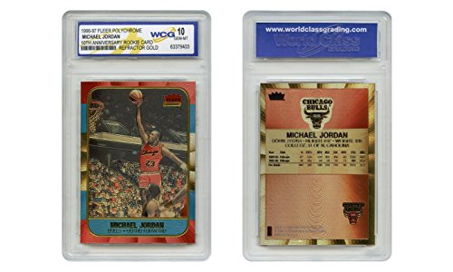 Michael Jordan Fleer Rookie Card Genuine Poly-Chrome Refractor Gold GEM-MINT 10 ()