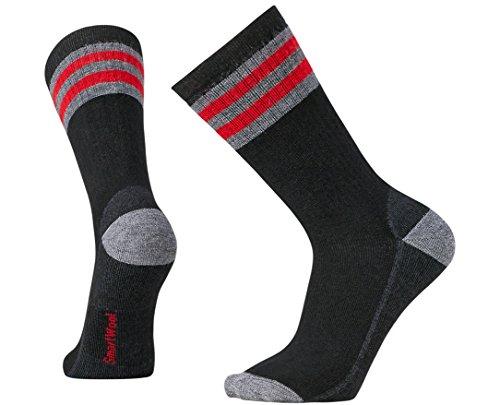 Smartwool Men's Striped Hike Medium Crew Socks (Black/Light Gray) Medium