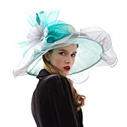 Rotus Women's Wide Brim Organza Kentucky Derby Tea Party UV-Anti Hat