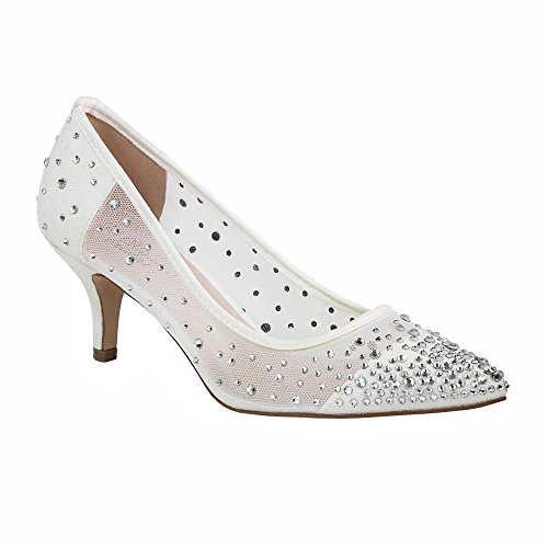 De Blossom Collection Womens Party Dressy Rhinestone and Shimmer Mesh Low Heel Pointed Toe Pump White 638gX