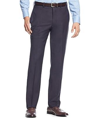 Calvin Klein Slim Fit Navy Solid Flat Front Wool Blend New Men's Dress Pants
