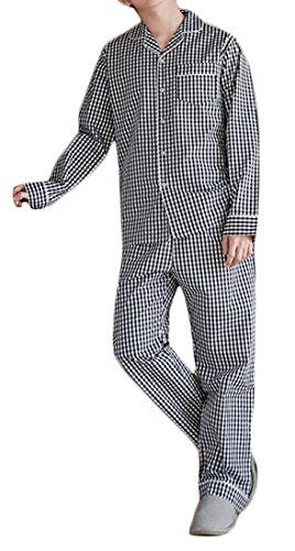 Fulok Mens Cotton Checkered Shirt and Pants Sleepwear Pajama Set hot sale