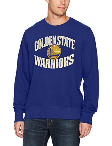 OTS NBA Golden State Warriors Men's Fleece Crew Distressed, Royal, Large