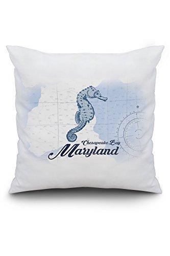 Chesapeake Bay, Maryland - Seahorse - Blue - Coastal Icon (20x20 Spun Polyester Pillow, Custom Border) (Chesapeake Pottery Barn)