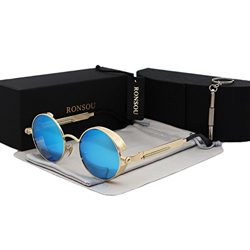 le Round Vintage Polarized Sunglasses Retro Eyewear UV400 Protection Matel Frame golden frame/blue lens (Vintage Style Sunglasses)