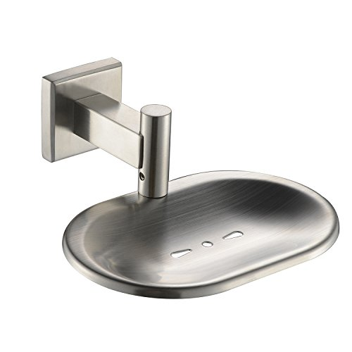 YIGII SUS 304 Stainless Steel Bathroom Soap Dish Holder Wall Mount, Brushed Nickel