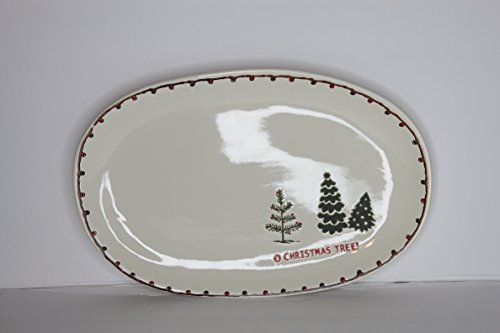 - Potter's Studio Ceramic Oval Serving Platter Plate O Christmas Tree! Tree Farm - Christmas Lights Border