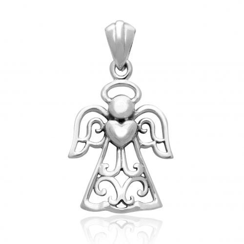 Angel Pendant (925 Sterling Silver Fairytale Angel Heart Charm Pendant)