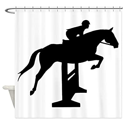 CafePress - Hunter Jumper Over Fences - Decorative Fabric Shower Curtain