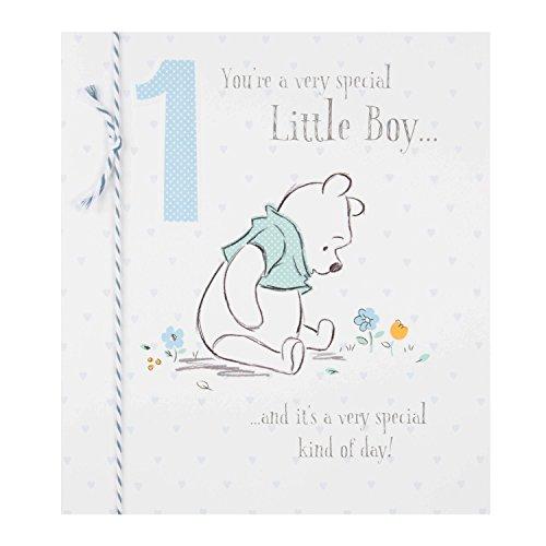 Babys First Christmas Card - Hallmark Age 1 Disney Baby 1st Birthday Card 'Little Boy' - Medium