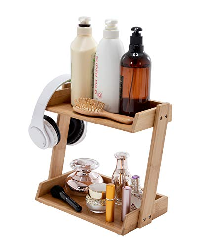 PELYN Bamboo Rotating Bathroom Makeup Storage Tier Organizer Counter Shelf Great for Bathroom, Vanity, Countertop, Natural ()