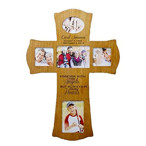 (GiftsForYouNow Engraved Wooden Photo Memorial Cross)