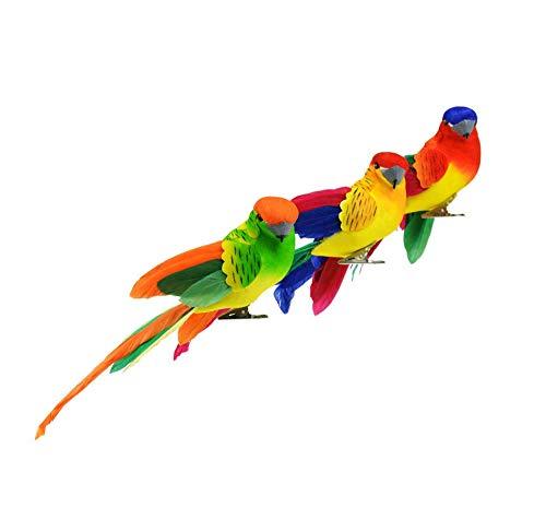 Set of 3 Artificial Parrots for Decoration, Floral Arrangements and Arts & Crafts - Blue, Orange, and Red ()
