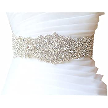 Amazon.com: Trlyc Wedding Dress Belt Sash - Crystal Beaded Bridal ...