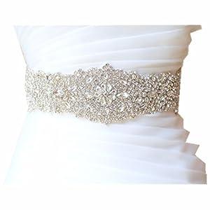 Amazon.com: Trlyc Wedding Dress Belt Sash - Crystal Beaded Bridal ...