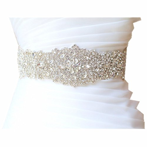 Trlyc Wedding Dress Belt Sash - Crystal Beaded Bridal Belt Sash - Rhinestone Wedding Gown Sash - Crystal Rhinestone Belt - Felicie