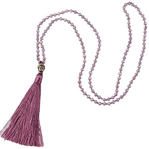 - KELITCH Crystal Silver Buddha Head Tassel Beaded Necklace Fashion Strand New Jewelry (Red)
