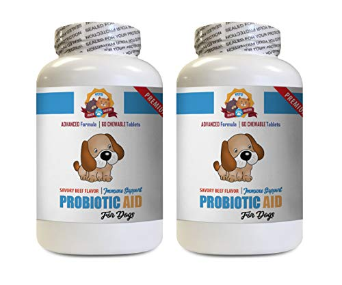 (PETS HEALTH SOLUTION Dog probiotic Capsules - Dog PROBIOTIC AID - Digestive Boost - GET RID of Bad Breath - Solves Bad Gas Issues - Silica for Dogs - 2 Bottles (120 Chewable Tablets))