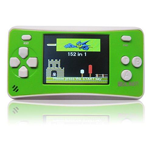 WOLSEN 2.5″ LCD Portable Handheld Game Console Speaker (Green+ White) (3 X AAA) 152 in 1 Games