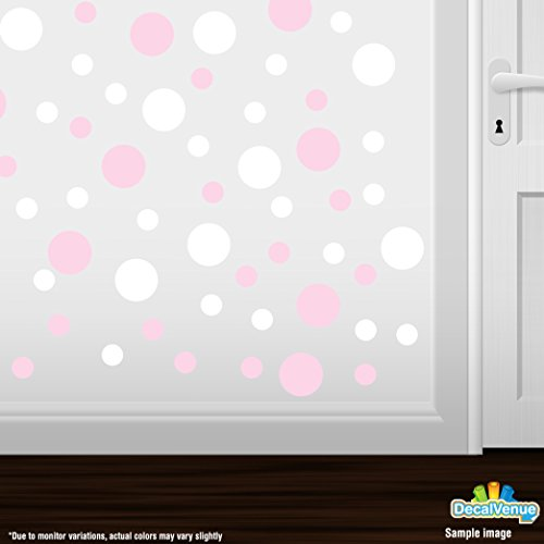 White / Pink Polka Dots (Set of 30 - Circles Polka Dots Vinyl Wall Graphic Decals Stickers (Baby Pink / White))