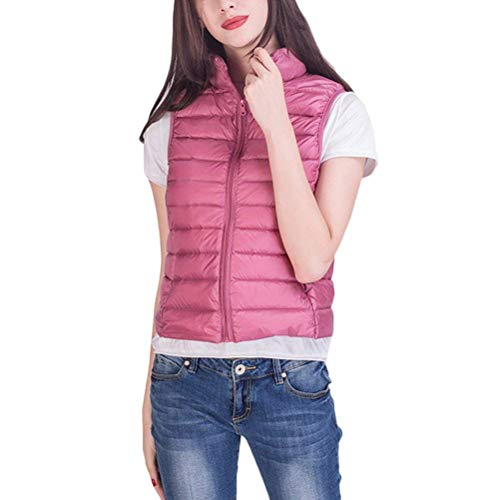 Cappotto Gilet Piumino Collo Ultralight Moda Donna Fit Autunno Trapuntato Packable Casual Slim Corto Plus Coreana Prodotto Pink Invernali Eleganti Smanicato Costume aawqFPr8