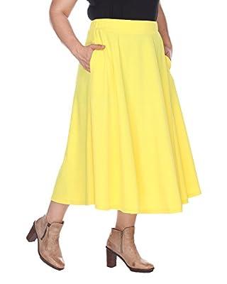 White Mark Women's Plus Size Tasmin Flare Midi Skirt