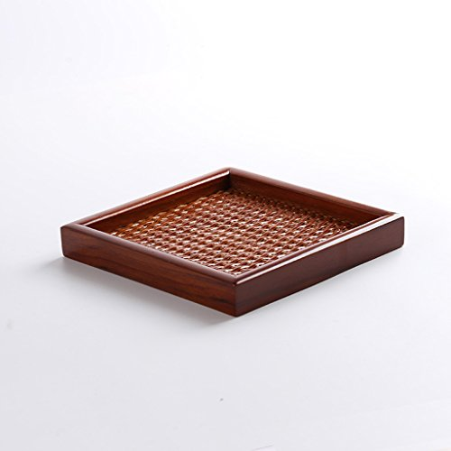 Table Rattan Painted (HLJ Japanese Rattan Tray Vintage Tea Cup Tray Fruit Plate Simple Wooden Candy Dish (Size : S:1515cm))