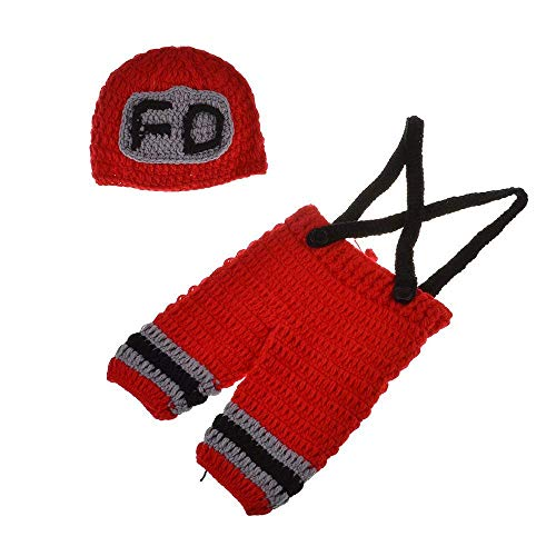 Eyourhappy Newborn Baby Photography Props Costume Handmade Crochet Knit Fireman Caps Pants (Red)]()