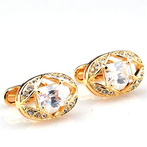Gold Luxury Diamond Cufflinks 2PC High-end Zircon Rhinestone Plated Metallic Copper French Shirt Cufflinks