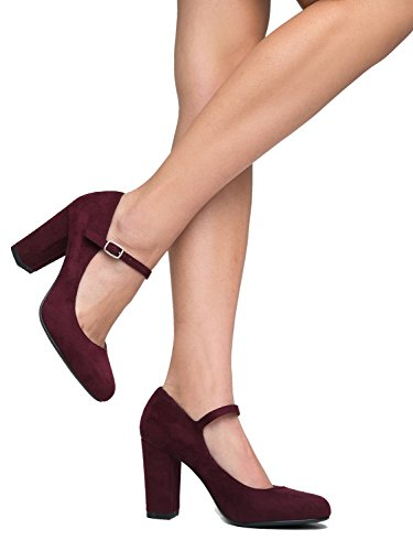 Comfortable Heels Pumps Jane Cute Suede Block Mary Round Toe Chunky Adams Vino Skippy J CfPqxnwT0q