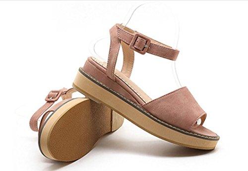 SHFANG Sandalias de las señoras Verano Universidad muchacha Estudiante La palabra Hebilla Retro Plano Bottom Pez Boca Playa zapatos Ocio Confort 5cm Pink
