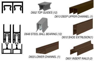 Dark Bronze Deluxe Track Assembly D613 Upper and D601 Rail With Steel Ball-Bearing Wheels by CR Laurence