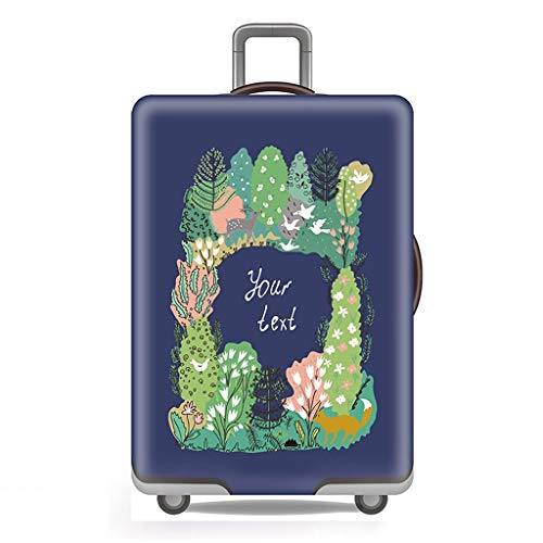 Trolley case Suitcase Cover Suitcase Cover Protector Waterproof Wear-Resistant Non-Slip Four Seasons Available Spandex Suitcase Protector Fits 24-42 Inch Elastic Stretchy—Green Forest (Size : S)