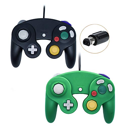 Poulep 2 Packs Classic Wired Gamepad Controllers for Wii Game Cube Gamecube Console (Black and Green)