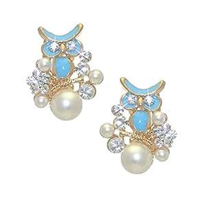 DUANA Buho turquesa oro perla cristal Clip en pendientes
