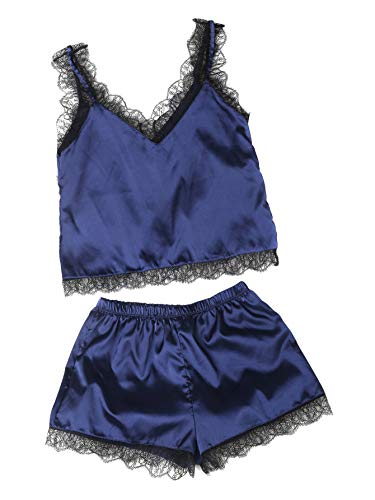 (MAKEMECHIC Women's Lace Satin Sleepwear Cami Top and Shorts Pajama Set Navy-1 L)